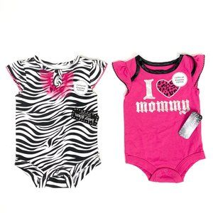 Other - NWT 2 Baby Glam Onesies Pink Zebra New with Tags